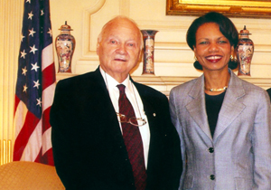 Maurice Strong with Condoleezza Rice